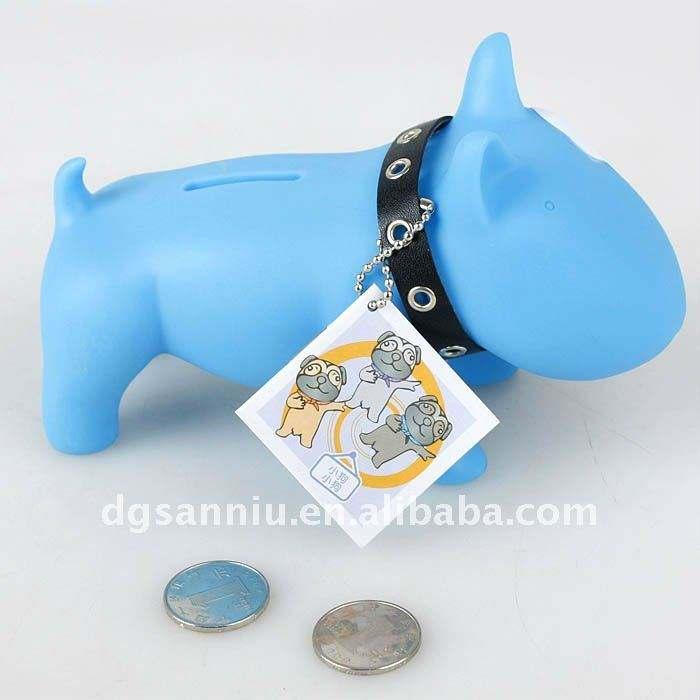 pvcかわいい青いカスタマイズされた犬の形貯金箱のお金の硬貨のセーバー