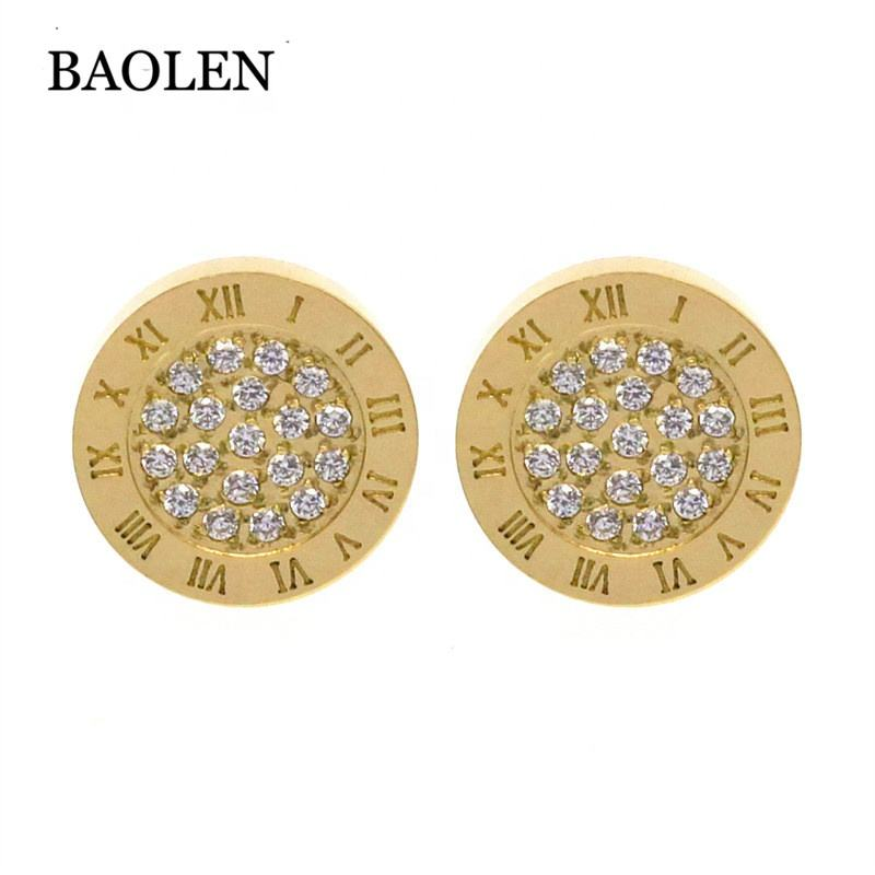 316L Round Shape Roman Number Engraved Stainless Steel Stud Earring For Girl Women Jewelry Guangzhou Xijiao Building Supplier