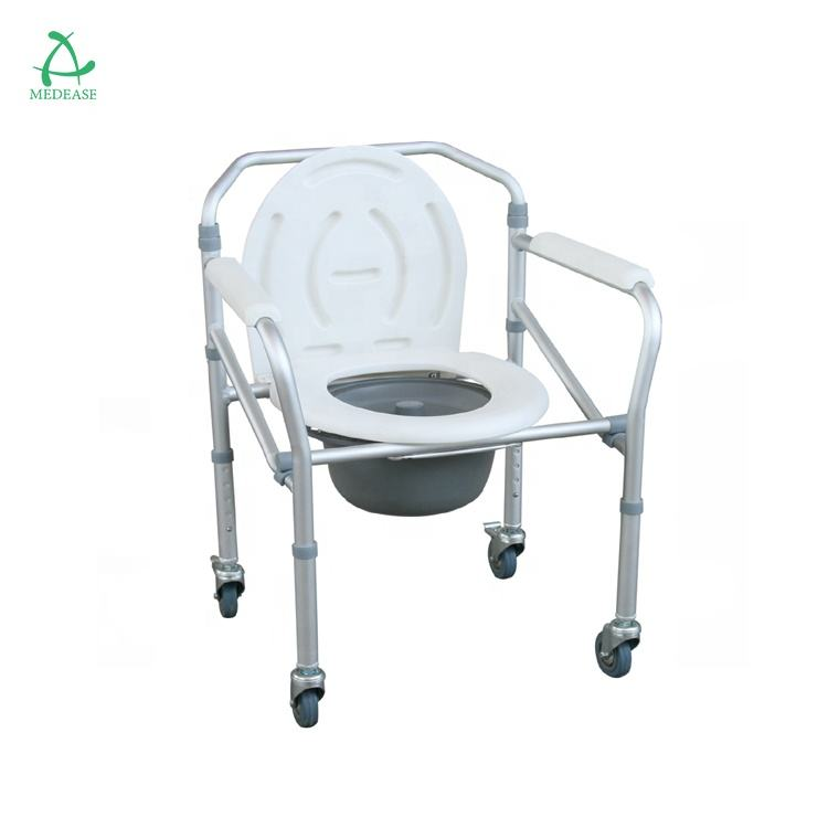 Stainless Steel Commode with Plastic Armrests