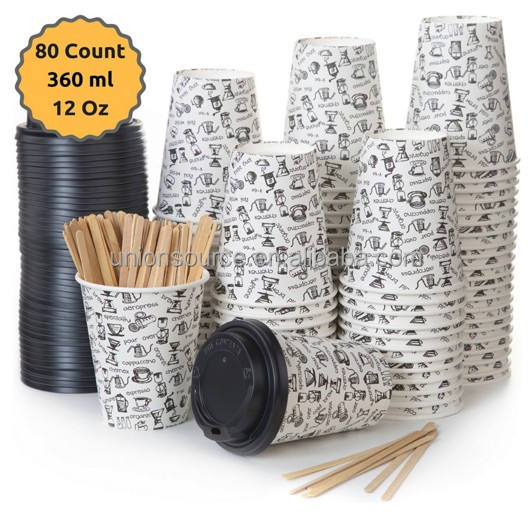 Set of 50 Hot and Cold Beverage Cup White 8 Ounce/200 ml PE Coated Cardboard with lids and stirrer