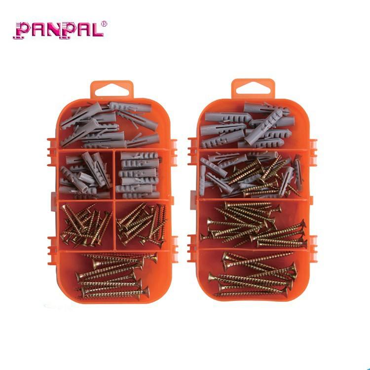China Supplier 132PCS Chipboard Screw And DIN Plastic Expansion Anchor