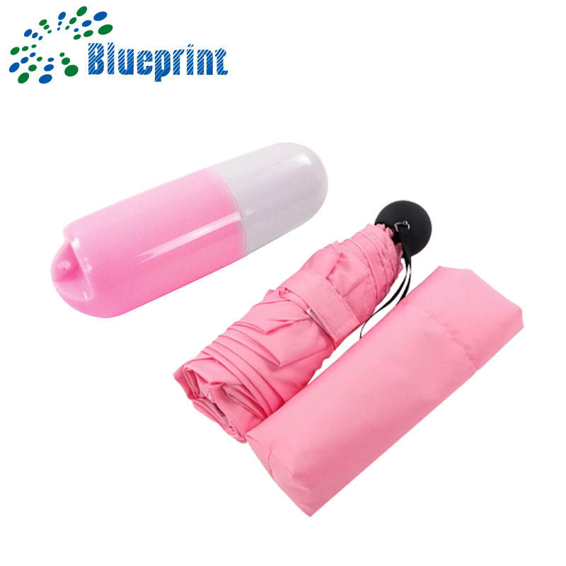 2018 new inventions plastic case lady folding umbrella capsule