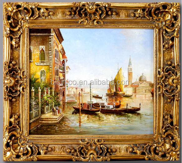 European Italy Water City Scene Picture on Wood Board Frame, Luxury Design Hand Printed Canvas Gilt Wood Carved Oil Painting