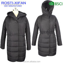 Plus Size Women Windbreaker Overcoat Long Padded Hooded Coat