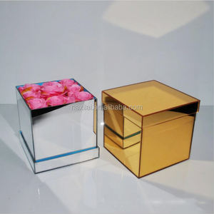 Promotional Large Luxury Acrylic Box Preserved Flowers Color Mirror Acrylic Box Acrylic Rose Flower Display Box