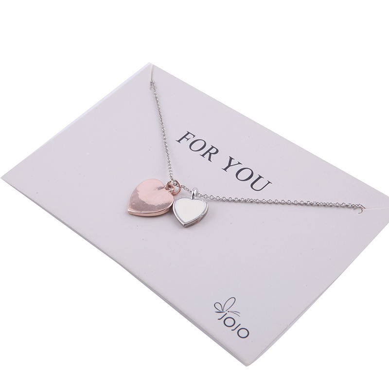 Promotional Beautiful Double Love Heart Charm Pendant Silver Chain Necklace for Girl