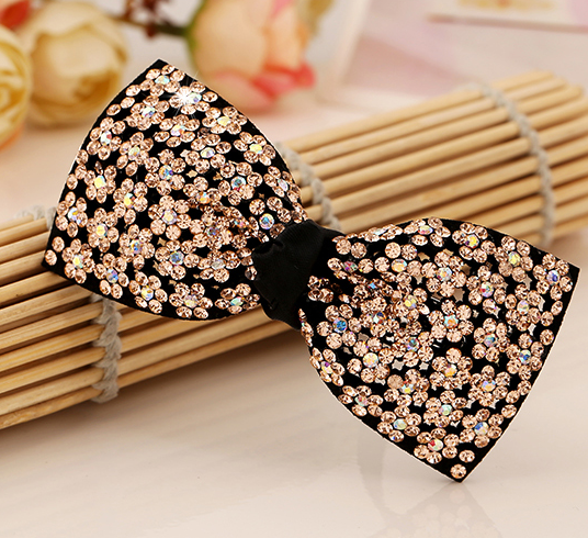 High quality fashionable bow women hair clips trendy design rainbow color crystal hairpin for hair