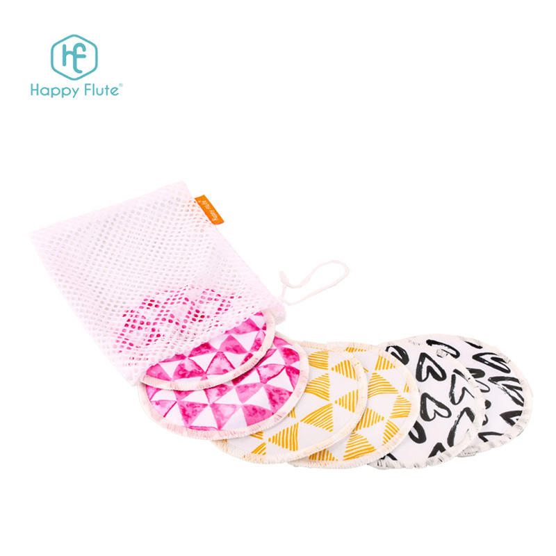 Reusable pretty bamboo breast pads washable cloth pads 12*12 cm 3 pairs per set with wash bag