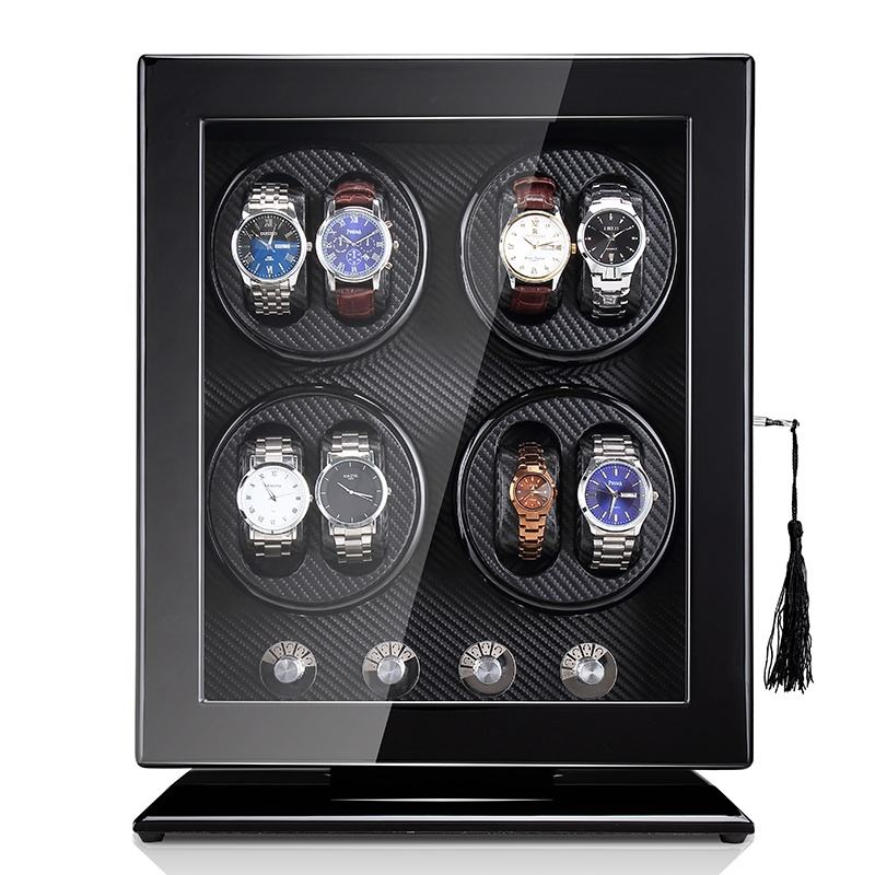 Time partner Wooden upright Stand Cabinet Display Watch Box with LED watch winder box New upgrade 8+0 watch winder manufacturer