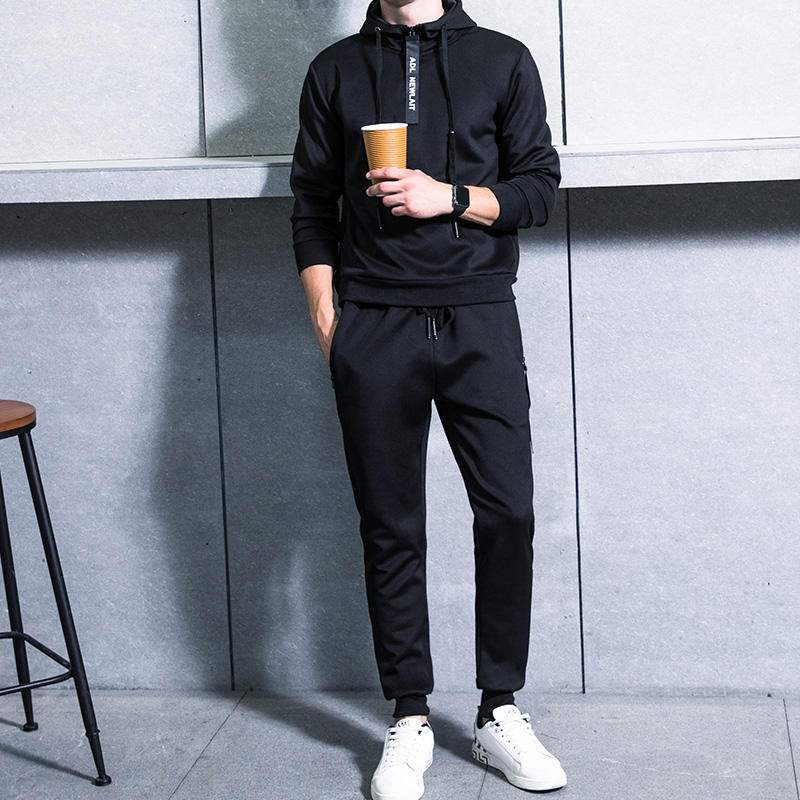 Low MOQ Black color Blank Jogger Sweat Sport Wear Suit for Men