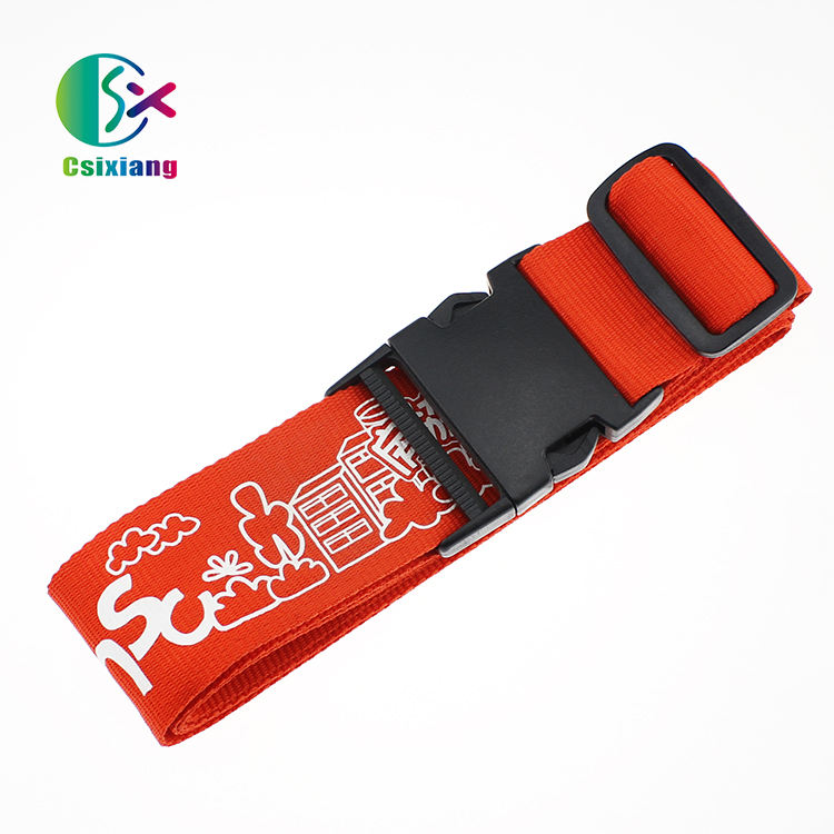 China Manufacturer Silk-screen Printed Custom Travel Red Luggage Strap With Custom Logo