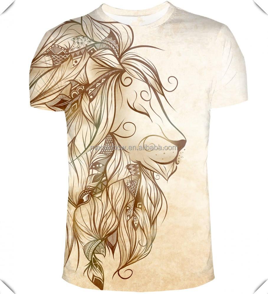 Stylish Gold Lion Printed T-Shirt Full Sublimation Printed Short Sleeve T Shirt 3D Animal Printed Unisex T Shirt Sublimated Tee