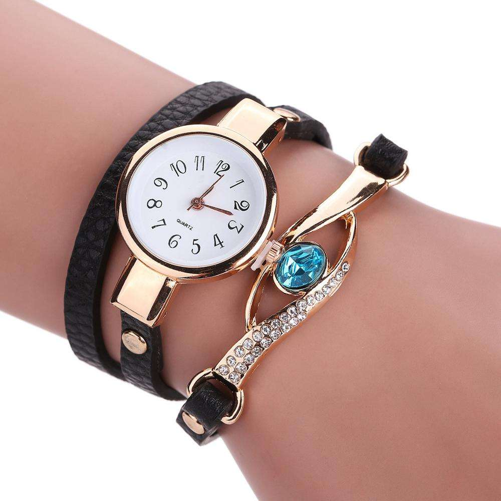 Drop Shipping Vintage reloj de pulsera Clover Watches Women Leather Strap Hot Sell Bracelet Wrist lady bracelet watches