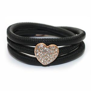 New Arrival Friendship Soft Sheep Leather Heart Shape Slide Charm Leather Bracelet