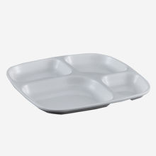 school canteen use eco- friendly white rectangle  plastic  plate 4 divided compartments melamine lunch tray