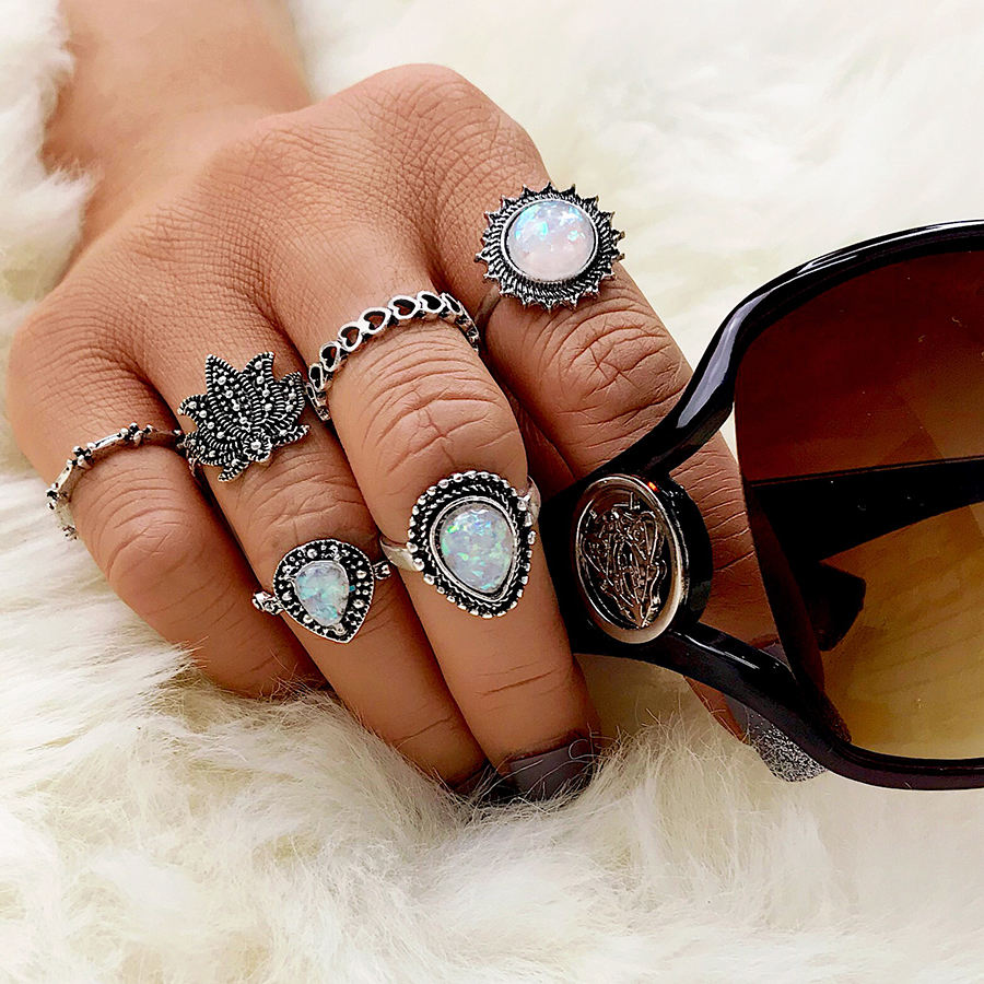 Fashion Silver Gemstone Antique Ring Set Manufacture For Women Wholesale NS8039968