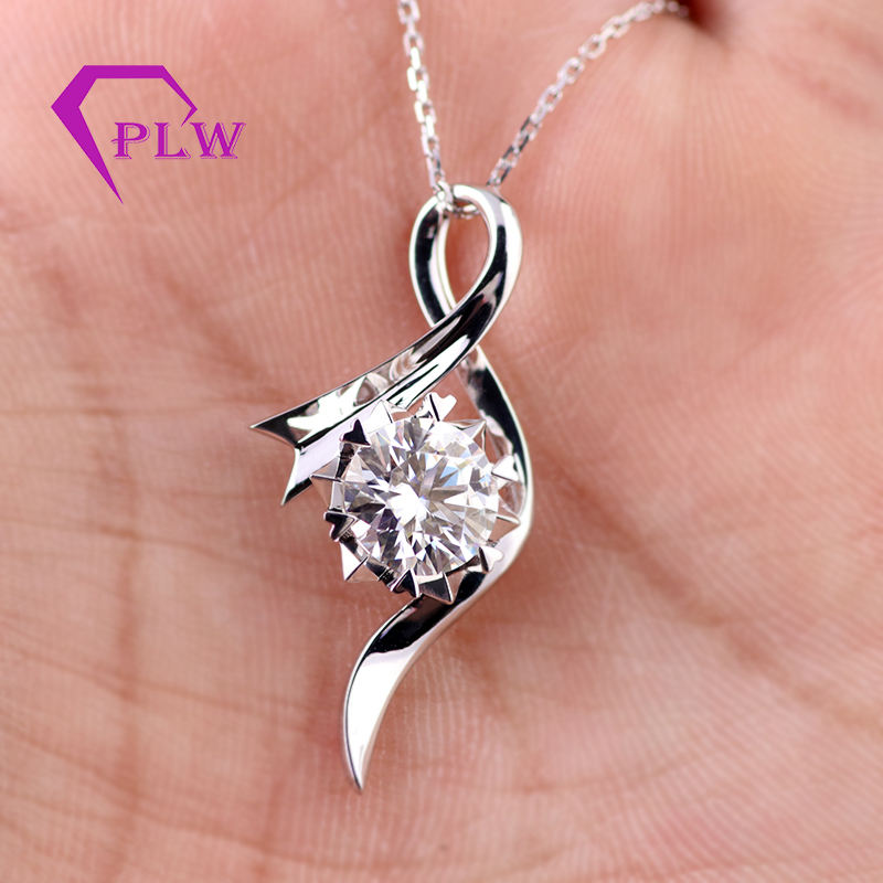 2carat white color 14k gold moissanite pendant necklace jewellery for gifts