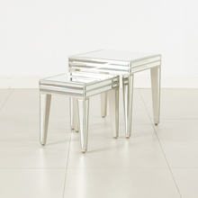 Set of 2 sparkle mirror nesting table square shape side table for living room