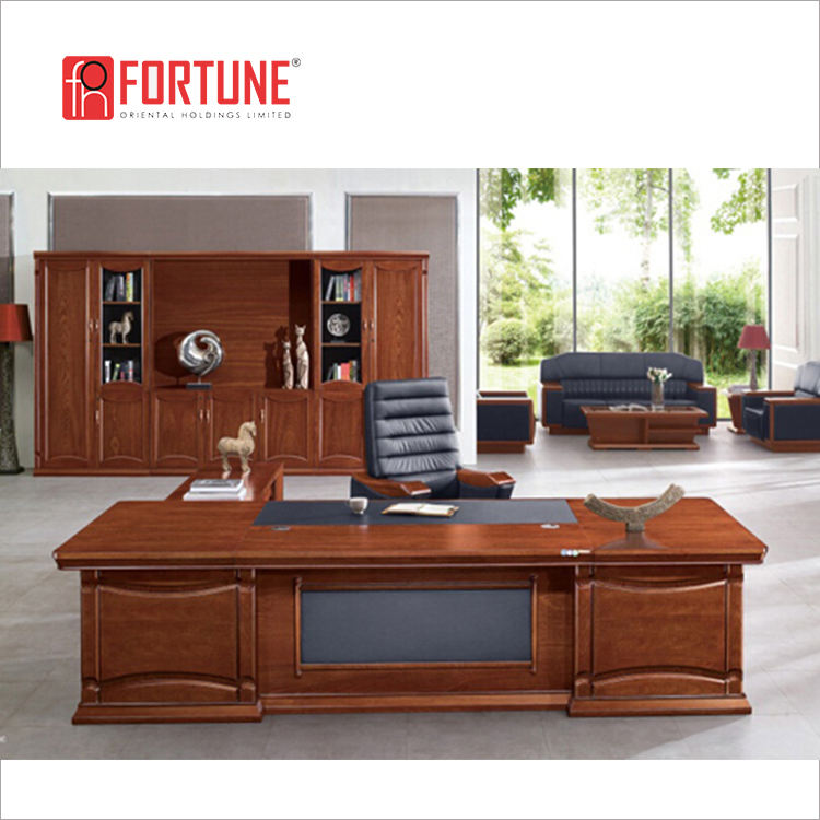Hot Sale Antique Boss Cherry Wood Office Tables and Chairs(FOHB5A-281)