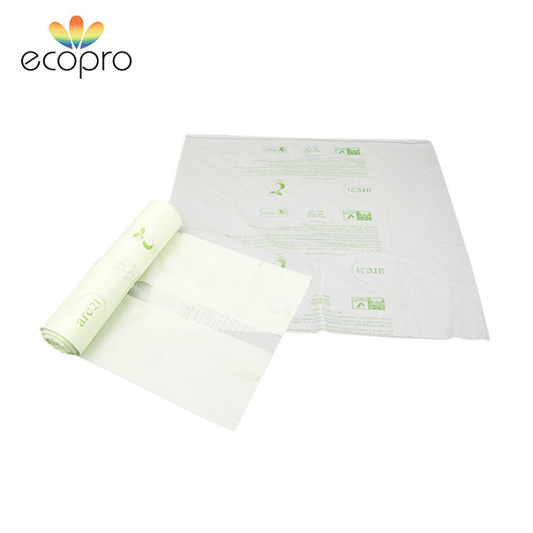 Custom Design Logo Printing C-folding Compostable Starch Bag Grocery Bag