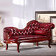 Gorgeous Victorian Walnut Fainting Sofa Chaise Lounge~ Red Leather Chaise Lounge