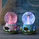 Creative gift zakka cartoon cute crystal ball rotating automatic floating snow with lights sound control water polo music box