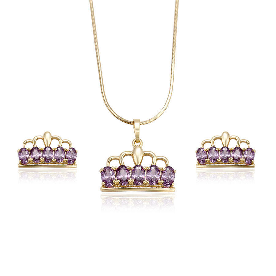 62125 Xuping noble crown 14k gold jewelry set for sale princess accessories jewelry