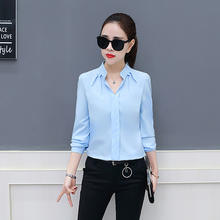 Korean Fashion Women Long Sleeve Blouse Lady Office Wear Chiffon Shirt