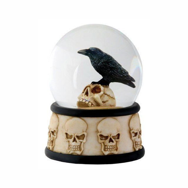 Raven on Skull Resin Bird Snow Globe for Halloween Decor