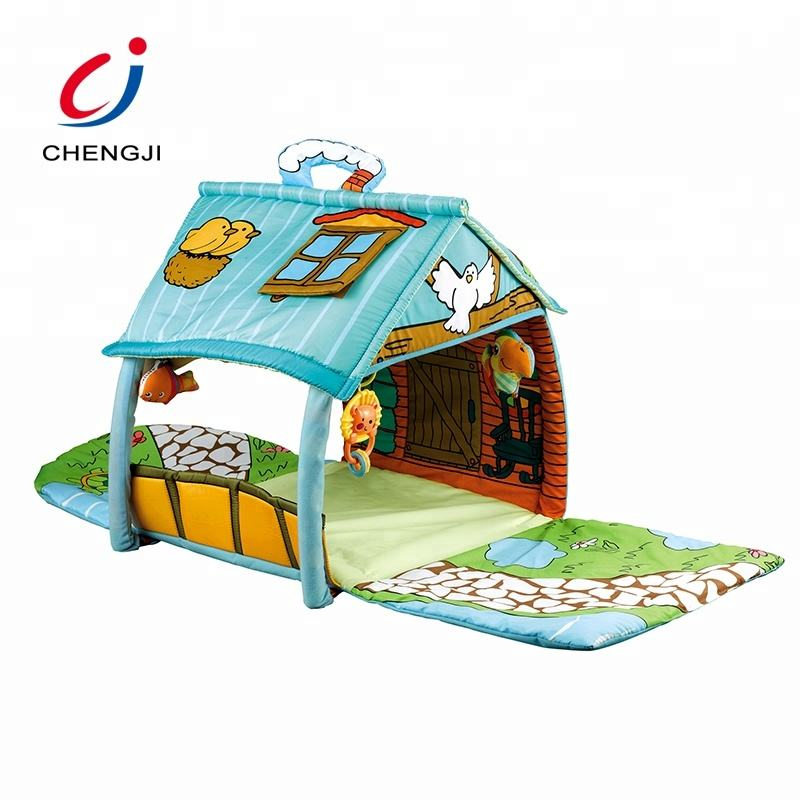 High quality non toxic cotton sleeping house toy activity crawling gym baby play mat
