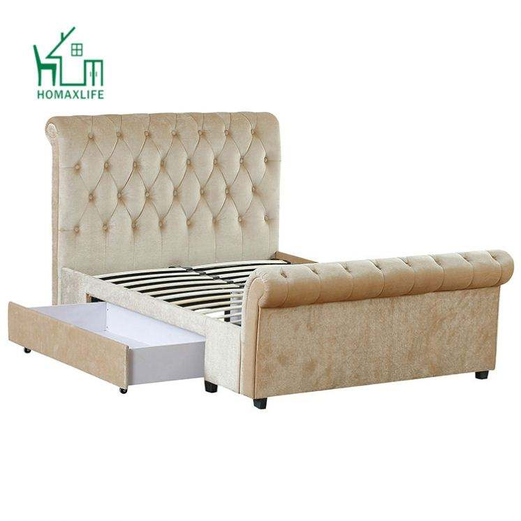 Free Sample King Queen Size Upholstered Sleigh Bed