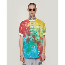 2019 spring and summer tide brand handmade color tie dyed abstract men's loose short-sleeved T-shir