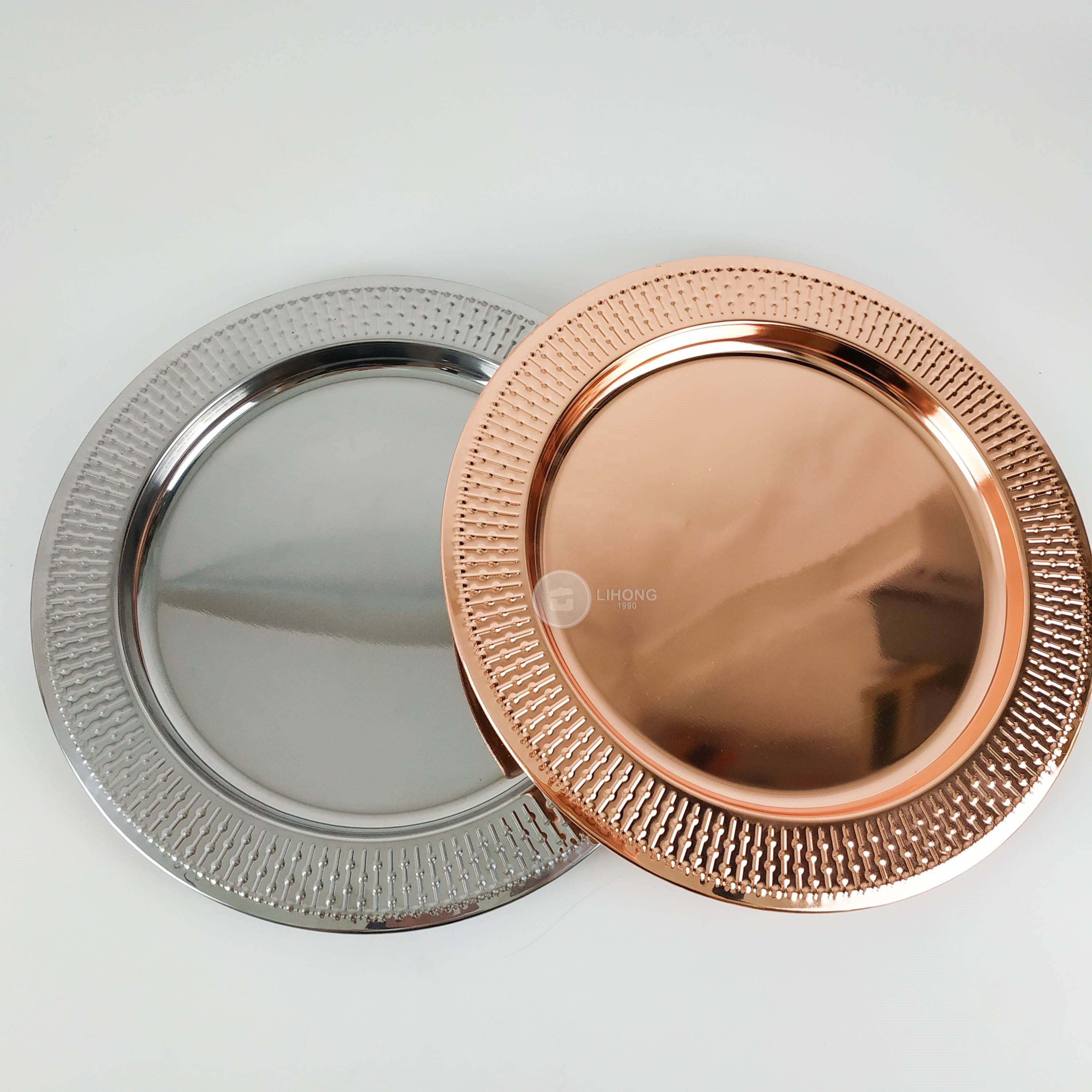 "12"" Blush Gold/Silver Metal Round Charger Plates Dinner Chargers for Tabletop Decor Wedding Catering Event"
