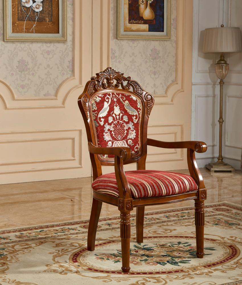 hot selling wholesale high back vintage solid wood carved dining chair