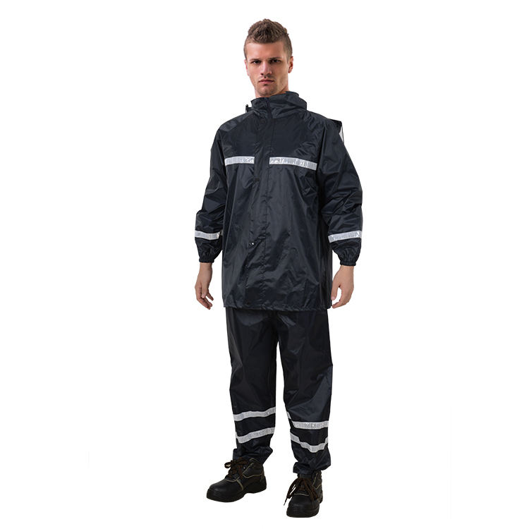 RR014 Rubberized polyester PVC waterproof safety rain suit