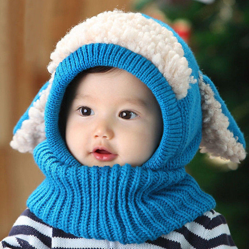 Wholesale 2019 hot sale cartoon children neck warmer fashion 5colors dog crochet knitted earflap winter baby hat and scarf
