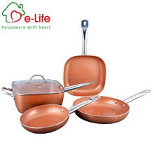 5pc Copper Frying Pan Set with Stainless Steel Handles- Includes Round Fry Pan, Square Pot with Glass Lid - Induction Bottom
