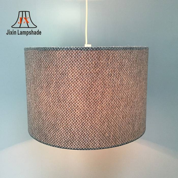 Modern Linen Fabric Round Lampshade , Table Ceiling Light Drum Frame Lamp Shade