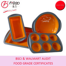 FDA/LFGB silicone cake pans/silicone cake molds/silicone bakeware with steel rims