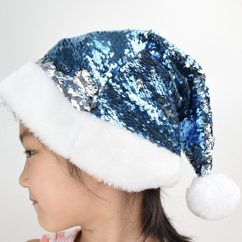2021 new popular custom Christmas Hat unique reversible sequin santa hat fancy christmas santa hat for Christmas