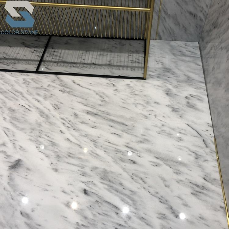 Polished afghan white marble with black spot veins marble slabs price for sale flooring tiles
