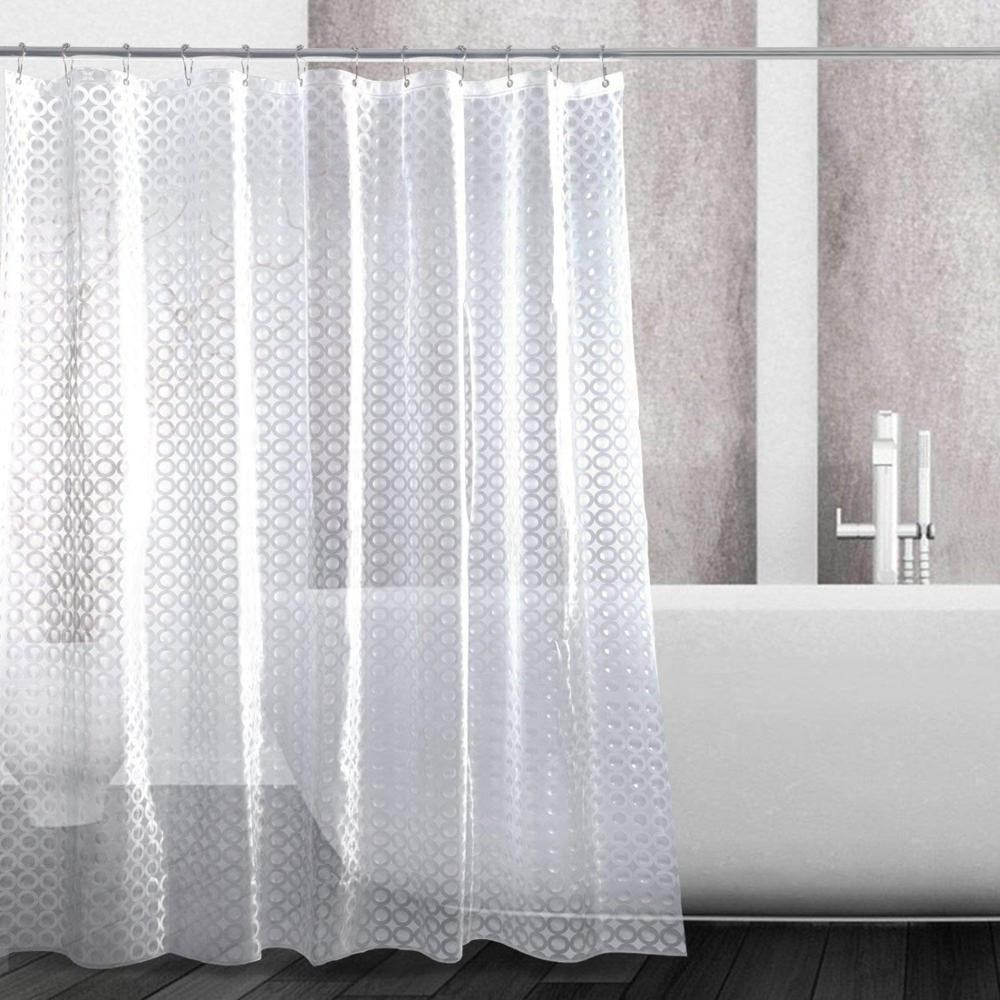 QJMAX Heavy-Duty Waterproof Mildewproof 3D PEVA Plastic Bath Shower Curtain