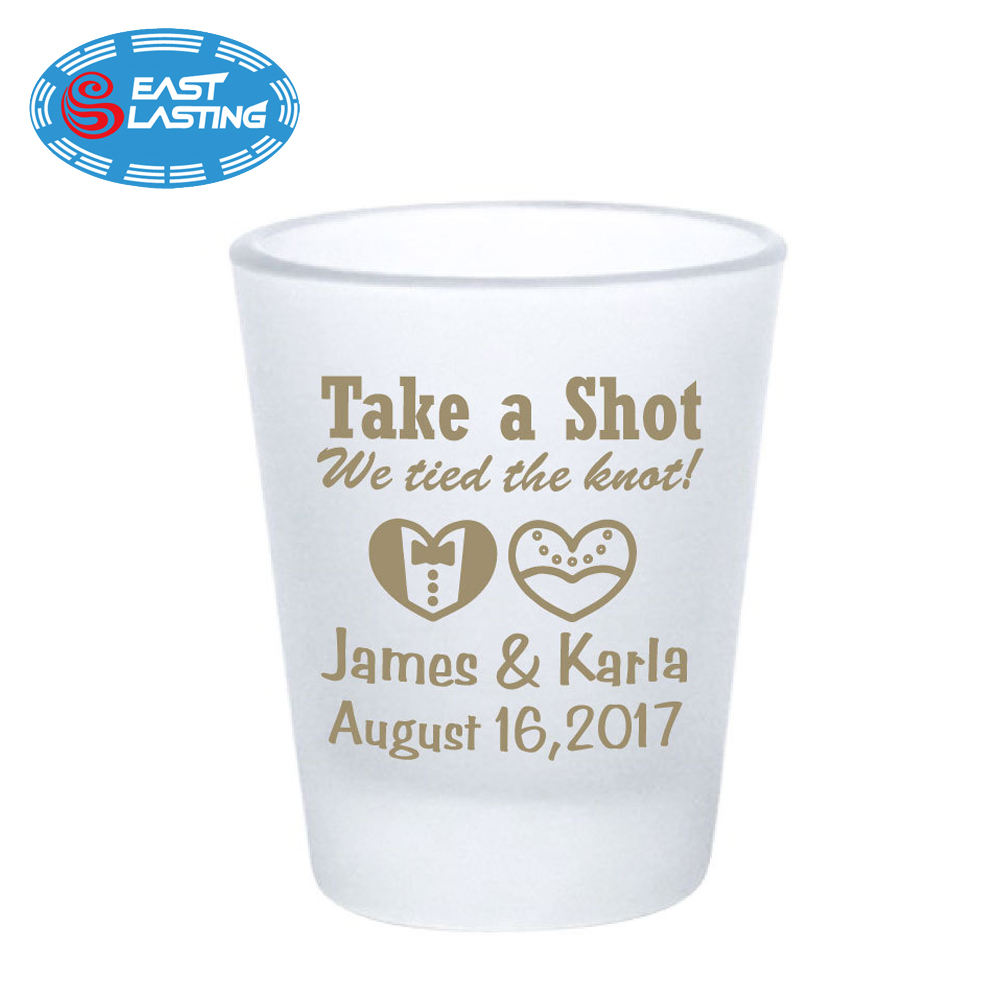 Frosted matt tequila shot glass for wedding guest gift with names collectible mug shot
