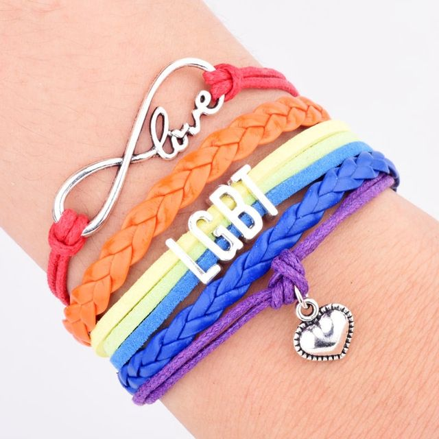 Dropshipping Wholesale Multilayer Braided Color Friendship Bracelet Gay Lesbian Rainbow Bracelet for Peace and Love