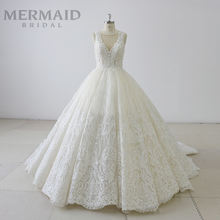 luxury v neck lace love season ball gown wedding dress 2019