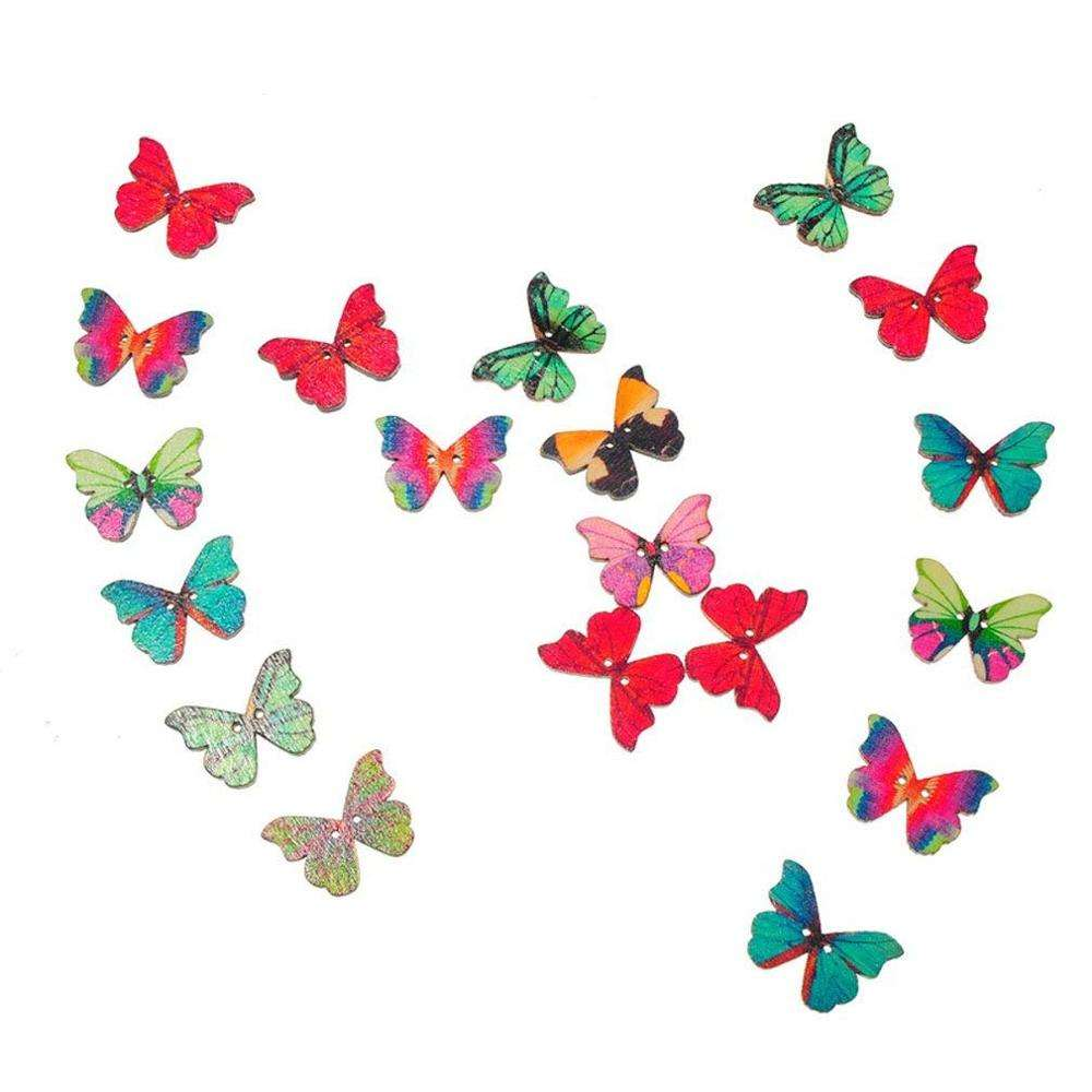 25ミリメートルWooden Buttons Butterfly Shape Mixed Color 2-穴Sewing Scrapbook DIY For Kids New Shape