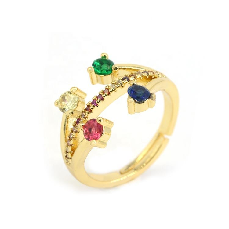 Big Zircon Collection Christmas Colorful Jewelry Fashion Costume Rings