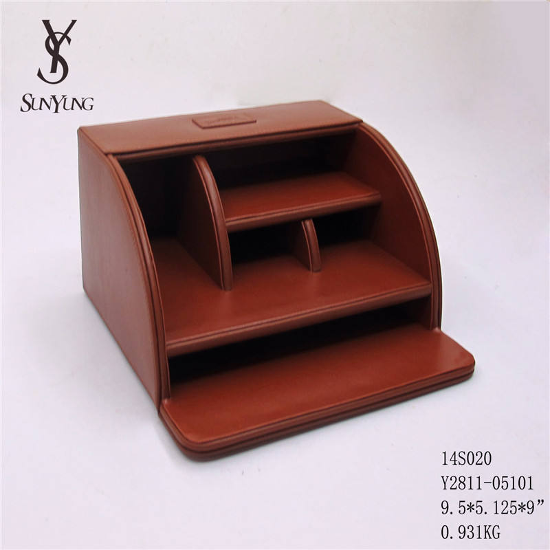 Good Quality Custom PU Desk Organizer Stationery Storage Box