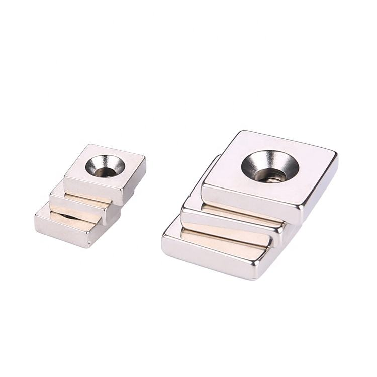 custom N54 square neodymium block magnets with countersunk hole