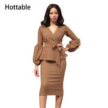 Puff Long Sleeve Bodycon Office Hip Package Pencil Midi Dresses A327